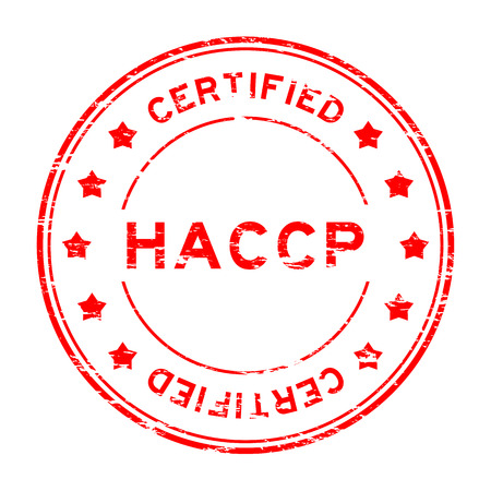 requirement: Grunge red HACCP (Hazard Analysis Critical Control Points) certified rubber stamp