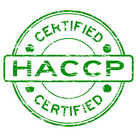 Grunge groene HACCP (Hazard Analysis Critical Control Points) gecertificeerde rubber stamp Stock Illustratie