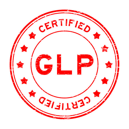 pharmaceutical company: Grunge red GLP certified rubber stamp Illustration