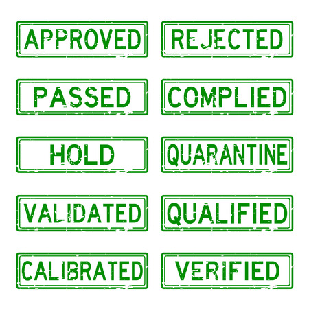calibrate: Green grunge status stamp for industrial business such as pharmaceutical factory Illustration