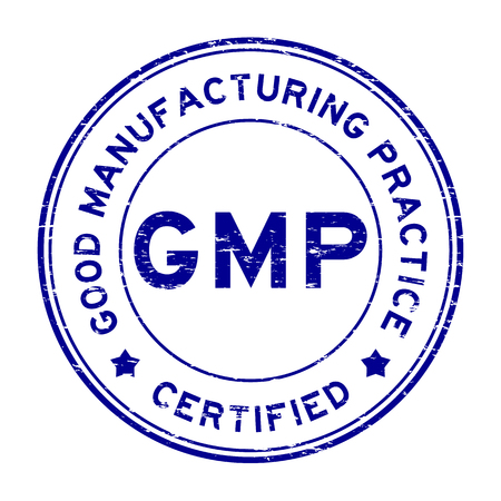 Grunge blue GMP certified rubber stamp