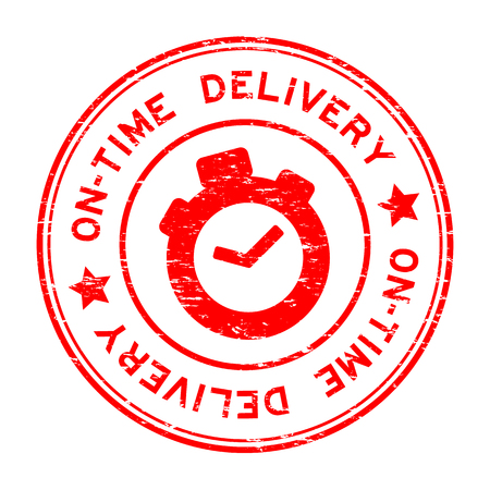 Grunge red on-time delivery with clock icon rubber stamp Çizim