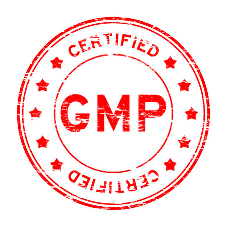 Grunge red GMP (Good manufacturing practice) and certified rubber stamp
