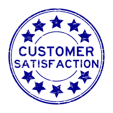 Grunge blue customer satisfaction with star rubber stamp on white background