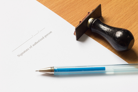 acknowledgment: Pen, rubber stamp on paper with Signature of authorized person wording Stock Photo