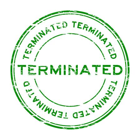 terminate: Grunge green round terminate rubber stamp Illustration