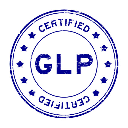 certified: Grunge blue GLP certified rubber stamp
