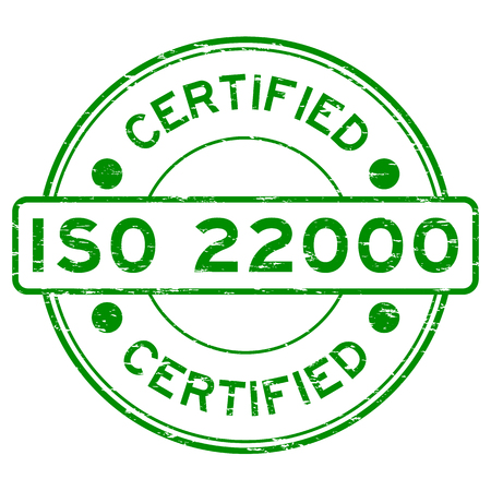 Grunge green round certified ISO22000 rubber stamp