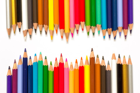 color pencil: Row of color pencil on white background