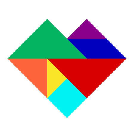 heart puzzle: Colorful tangram puzzle in heart shape on white background Illustration