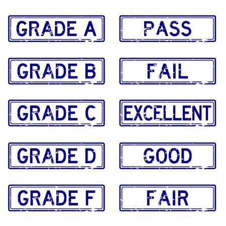 grade: Grunge blue various grade rubber stamp Illustration