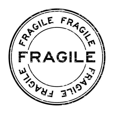 high damage: Grunge black fragile rubber stamp