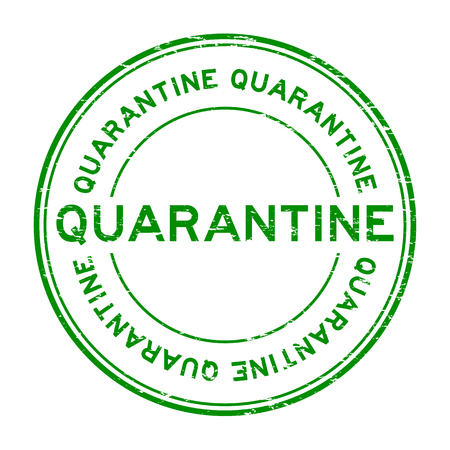 quarantine: Grunge green quarantine rubber stamp Illustration