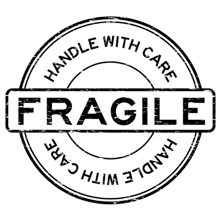 Grunge black fragile handle with care rubber stamp