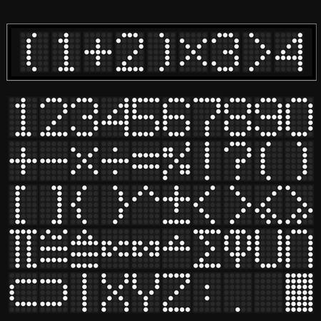 parentheses: White digital led display of math symbol Illustration