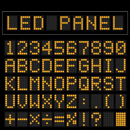 train table: Orange digital square led font display with sample panel Illustration