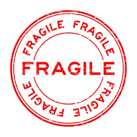 high damage: Grunge red fragile rubber stamp
