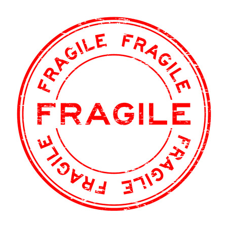 breakable: Grunge red fragile rubber stamp