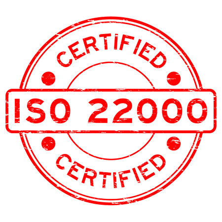 Grunge red round certified ISO22000 rubber stamp Vettoriali