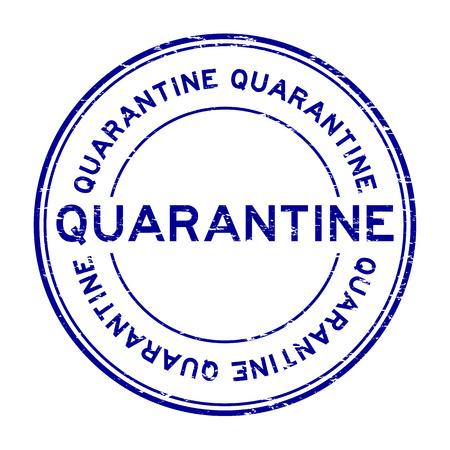 quarantine: Grunge blue quarantine rubber stamp