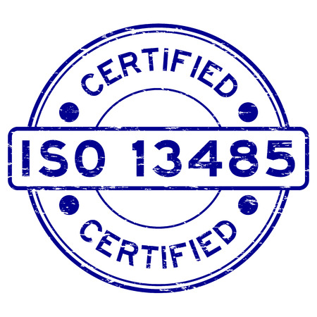 Grunge blue ISO 13485 certified rubber stamp Vectores