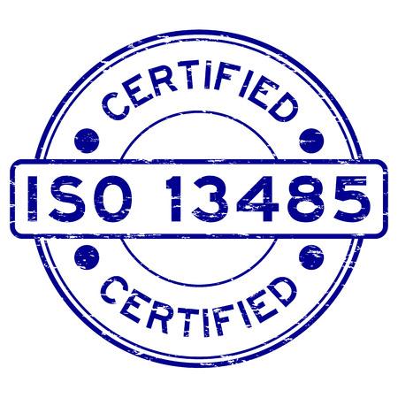 Grunge blue ISO 13485 certified rubber stamp Illustration