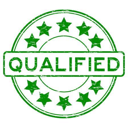 qualify: Grunge green round qualified with star rubber stamp