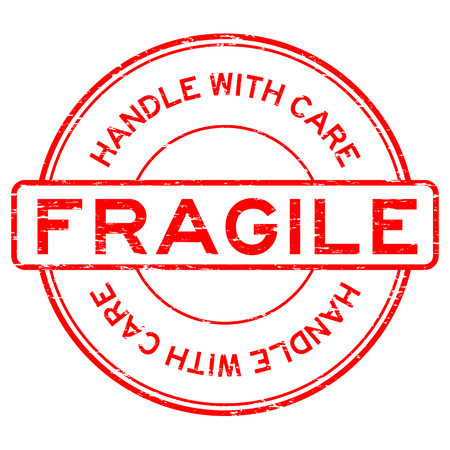 Grunge red fragile handle with care Stempel