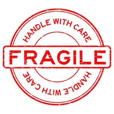 Grunge rojo frágil manejar con cuidado el sello de goma