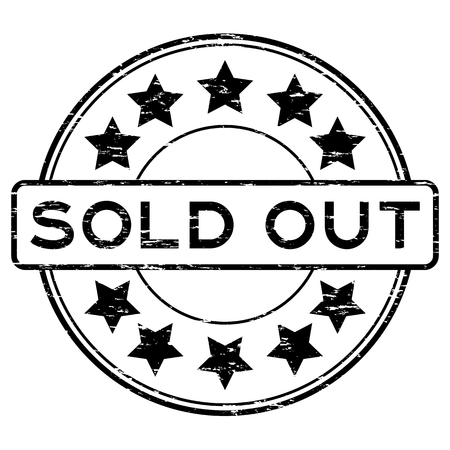 Grunge black round sold out with star rubber stamp