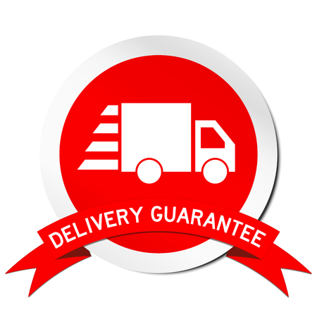 Red sticker of Deivery guarantee and truck icon on white background