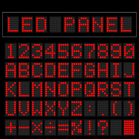 train table: Red digital square led font display with sample panel
