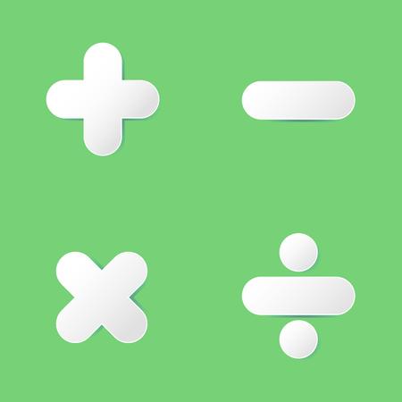 multiplicar: símbolo de las matemáticas básicas (signo más, menos, multiplicación, división) en el diseño de papel cortado en el fondo verde