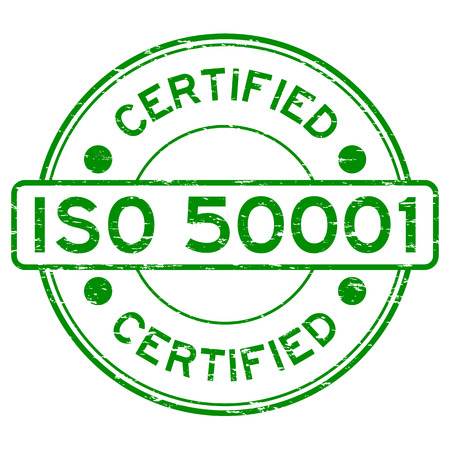 Grunge green ISO 50001 certified rubber stamp