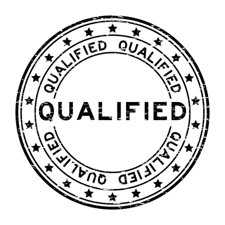 experienced: Grunge black qualified rubber stamp
