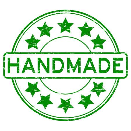 Grunge green handmade rubber stamp Illustration