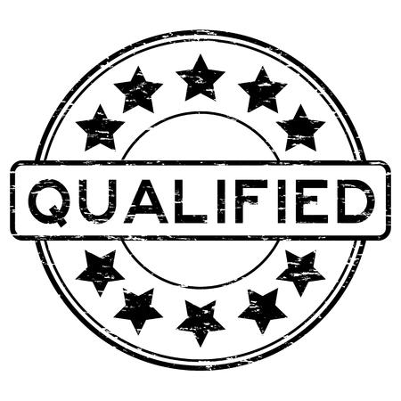 Grunge black round qualified with star rubber stamp