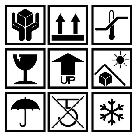 care symbol: Set of black packaging symbol (side up, handle with care, fragile, no hook, beware sunlight etc.)