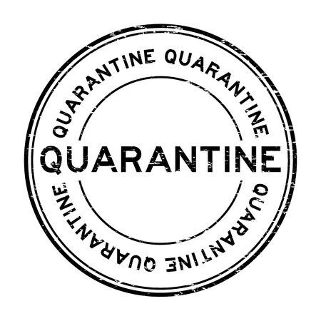 Grunge black quarantine rubber stamp