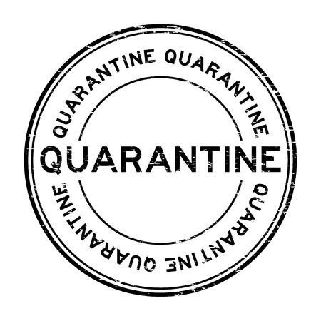 Grunge black quarantine rubber stamp
