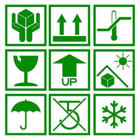hook up: Set of green packaging symbol (side up, handle with care, fragile, no hook, beware sunlight etc.)