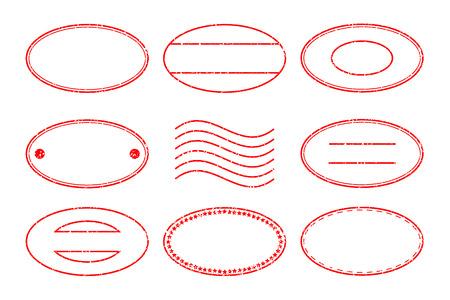 postmark: Set of red oval shape postal stamp and postmark on white background Illustration