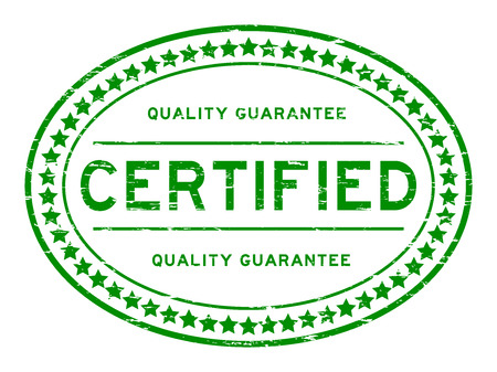Grunge green certified quality guarantee rubber stamp Vectores