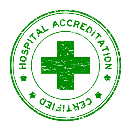 accreditation: Grunge green hospital accreditation certified round rubber stamp