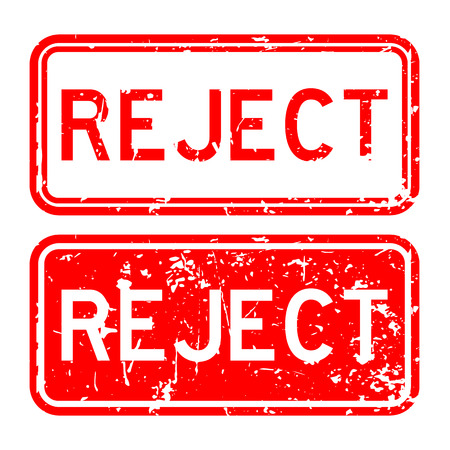 reject: Grunge red square reject rubber stamp