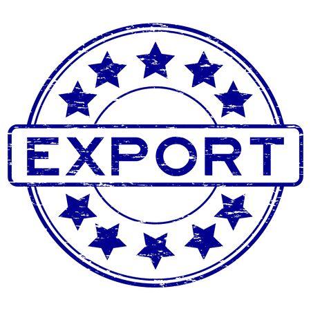 Grunge blue export rubber stamp Illustration