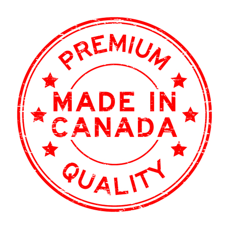 canada stamp: Grunge red premium quality made in Canada rubber stamp Illustration