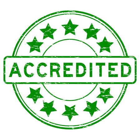 accredited: Grunge green accredited rubber stamp