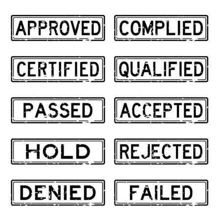 qc: Grunge black business rubber stamp about decision concept (Approve, Hold, Reject, etc)