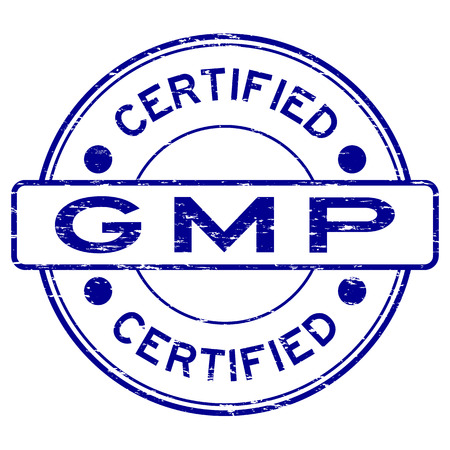 Grunge blue GMP (Good Manufacturing Practice) certified rubber stamp
